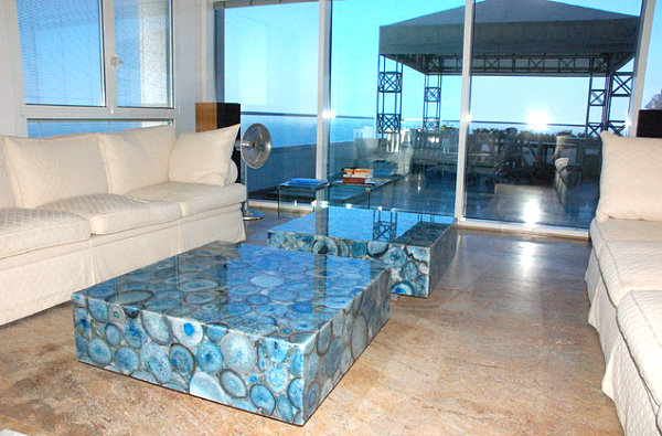 Blue agate coffee table in a modern space