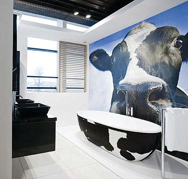 Bovine design in the powder room