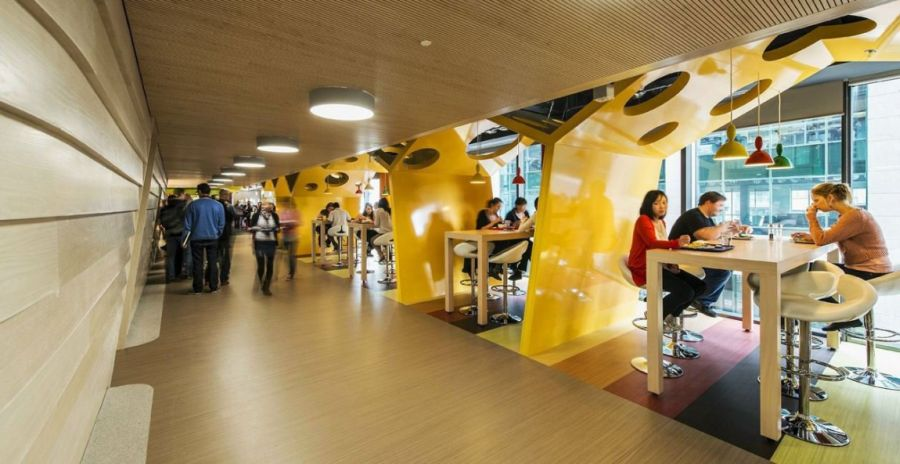 Bright and beautiful furnishings at the Google Campus