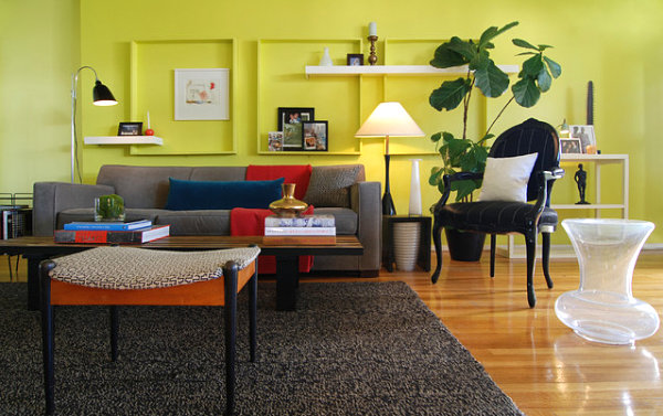Bright living room wall color