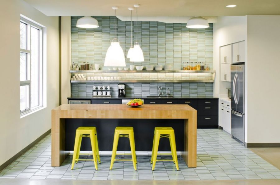 Bright seating options at the kitchen counter