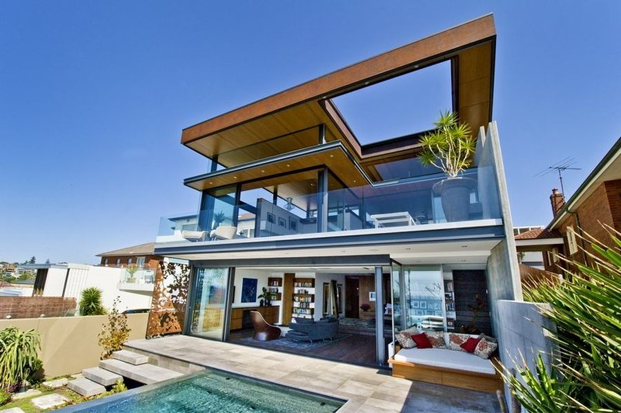 Dream house in sydney with ocean views for Images of front view of beautiful modern houses