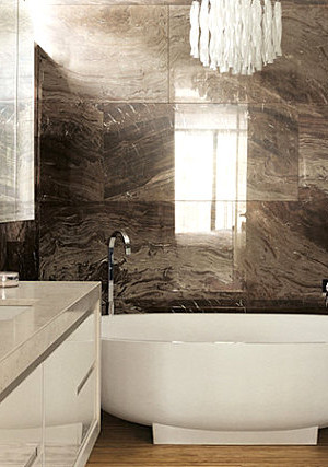 Brown marble bathroom tile