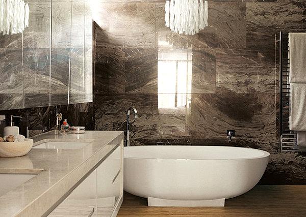 Brown marble bathroom tile