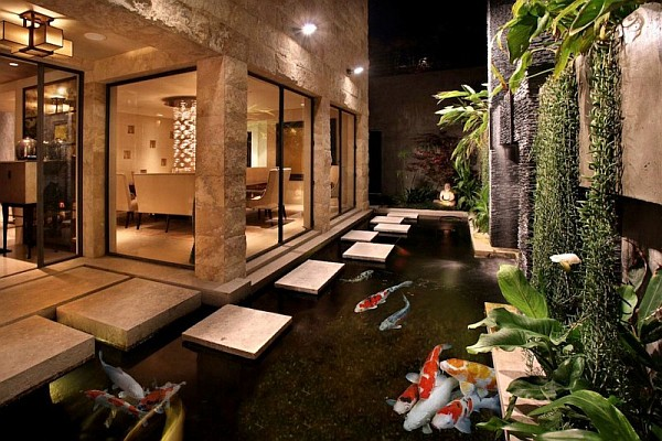 California Beach House with modern koi pond