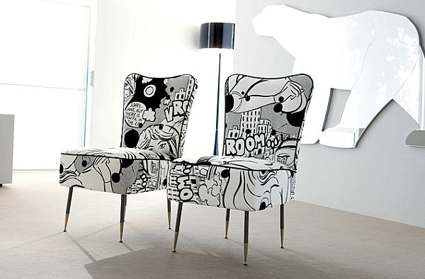 Chairs upholstered in cartoon fabric