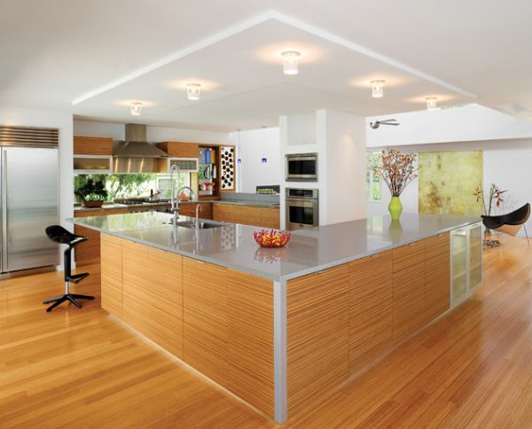 Lovely geometric variation in a sleek kitchen brought in by the Coconut Chair