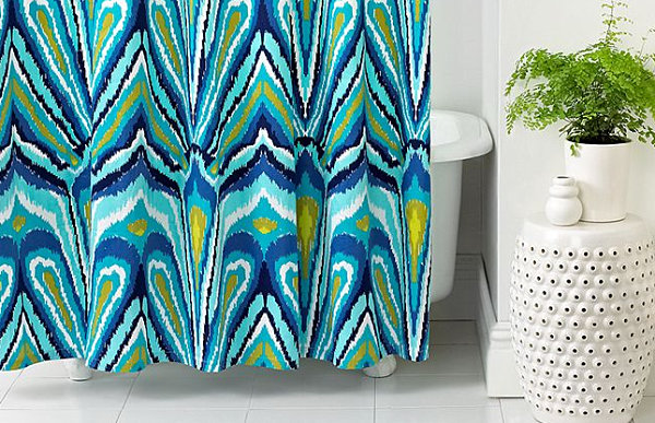 Colorful Trina Turk shower curtain More Modern Shower Curtain Finds for a Stylish Powder Room