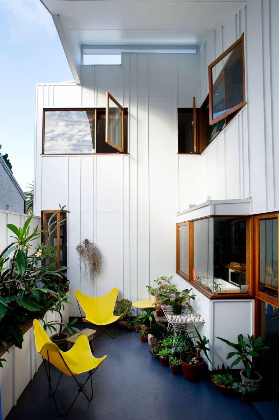 Colorful furnishings add a sense of airiness