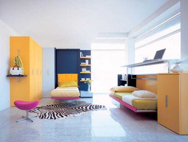 Colorful kids' bedroom with twin Murphy beds - Did you get it right