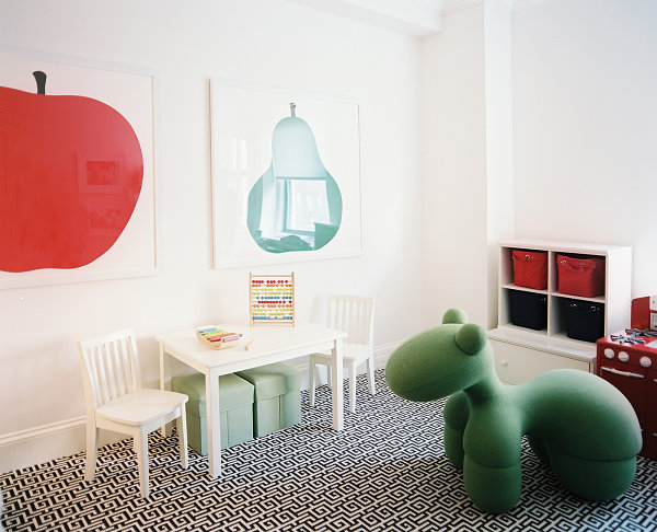 Colorful nursery with bold artwork