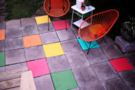 Colorful painted patio tiles