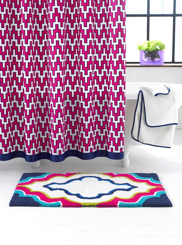 Colorful patterned shower curtain