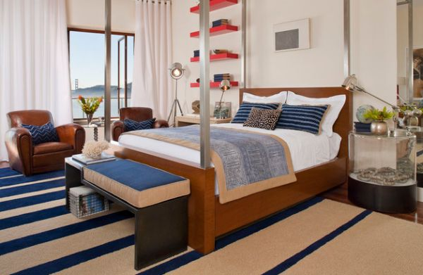 Colors in the bedroom bring in the nautical vibe