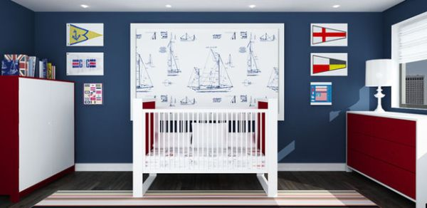 Colors of a nautical theme work beatifully in kids' rooms