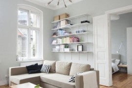 Comfortable couch and smart display shelves