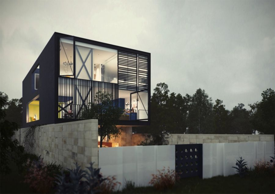 Conceptualized street view of the glass box house