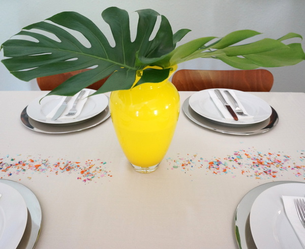 Confetti adds color to a table setting