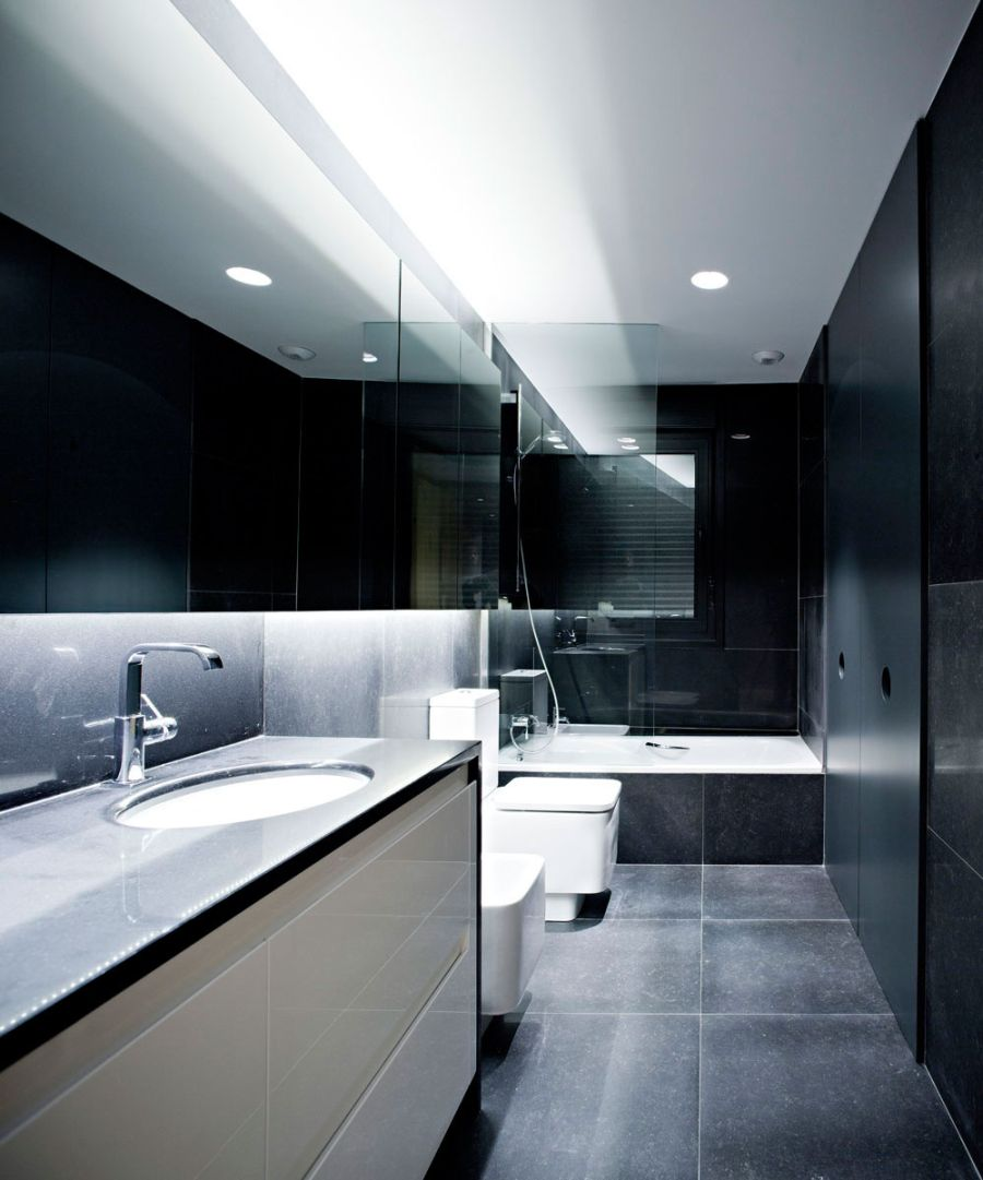 Contemporary bathroom in dark tones
