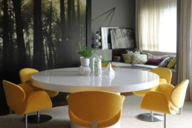 Contemporary dining space with yellow splashes