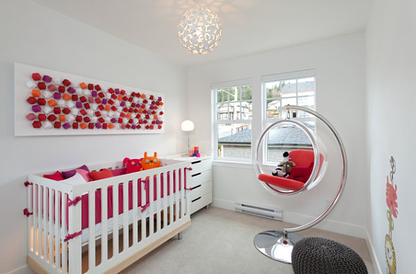 Contemporary nursery with eye catching colors1 Create a Mural Effect with 3D Wall Art