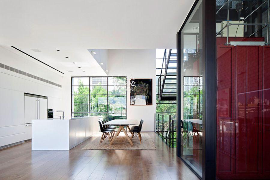 Contemporary open floor living plan