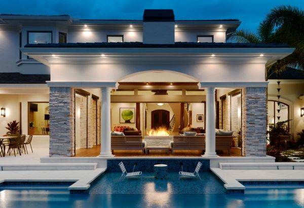 Contemporary patio and shallow pool steal the show here!