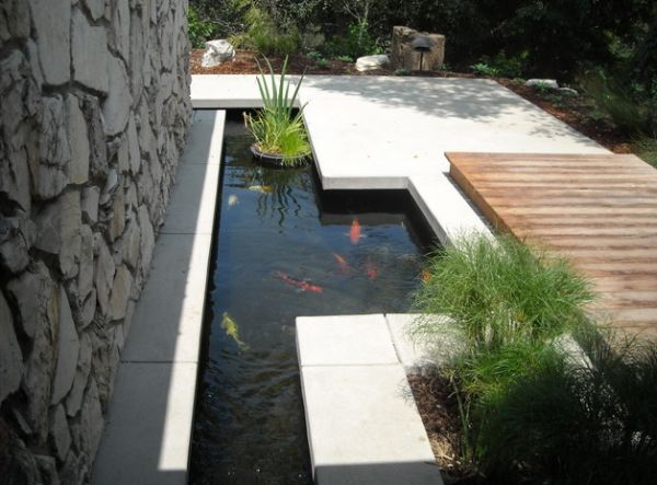 Contemporary touch to the traditional koi pond design