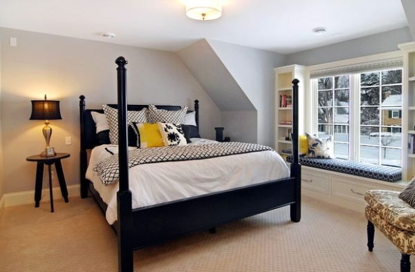 Cool and stylish way to add the four-poster bed to a small bedroom
