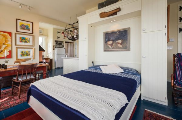 Cool cottage styled Murphy bed in blue and white