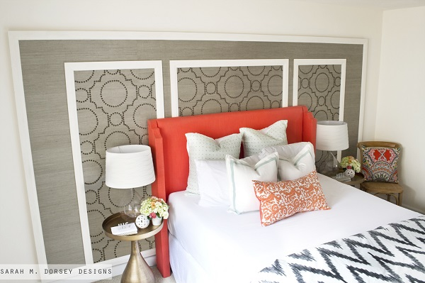 Coral upholstered headboard with arms