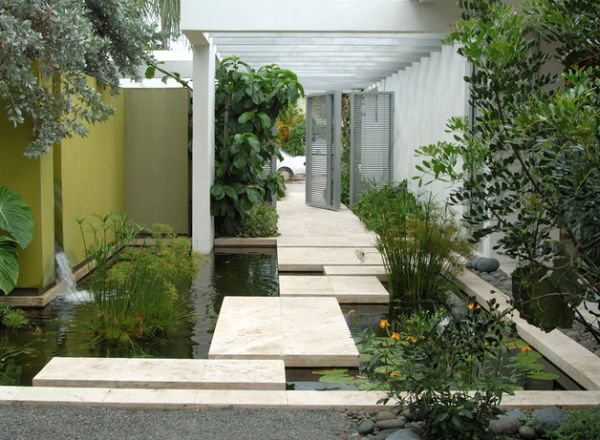 Create a beautiful entry way using the koi pond