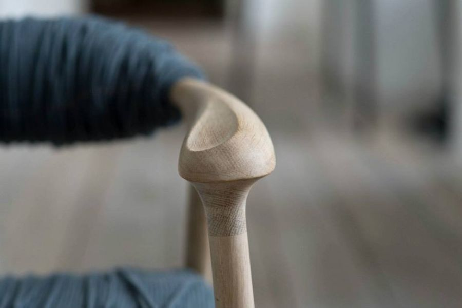 Detailed handicraft work on the Haptic Chair