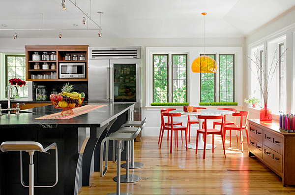Dining room with red and yellow accents