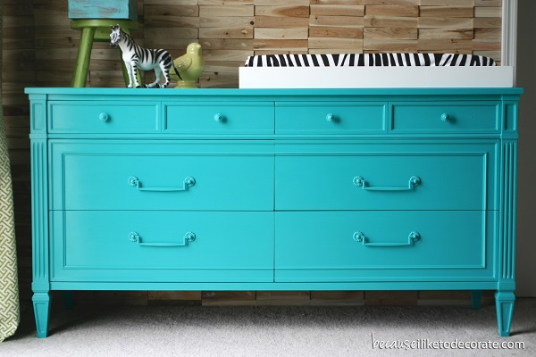 Electric blue changing table