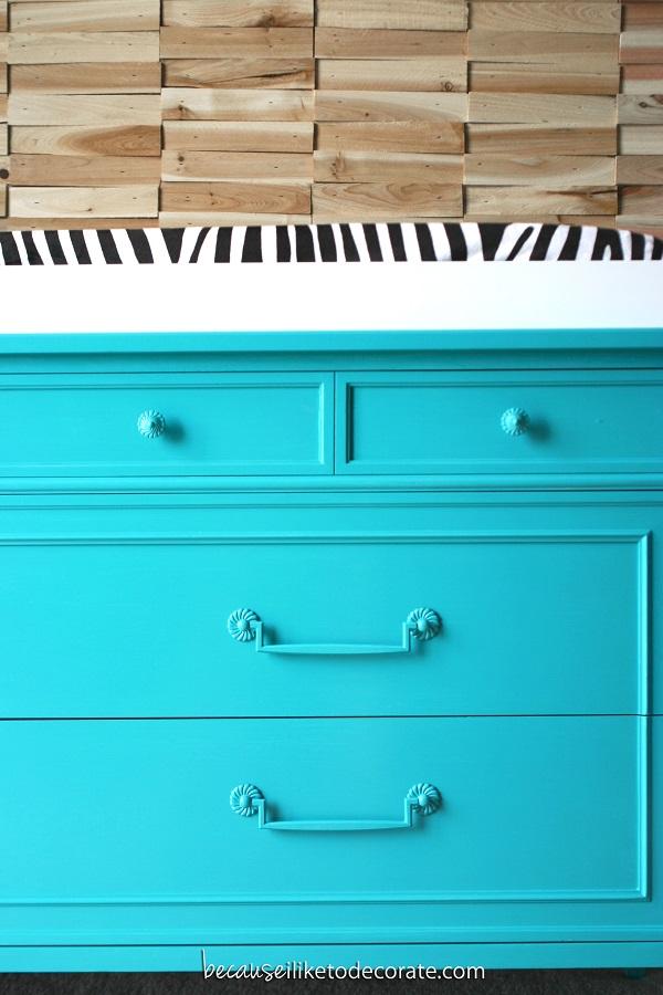 Electric blue dresser DIY