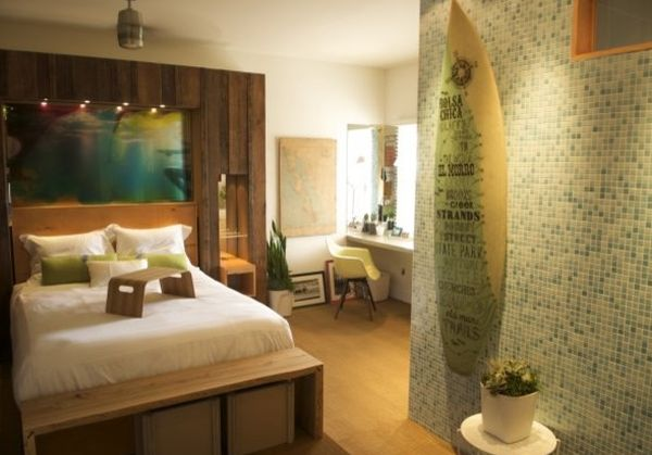 Elegant mounted surfboard in the bedroom
