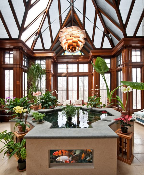 Elegant raised indoor koi pond with a lovely display