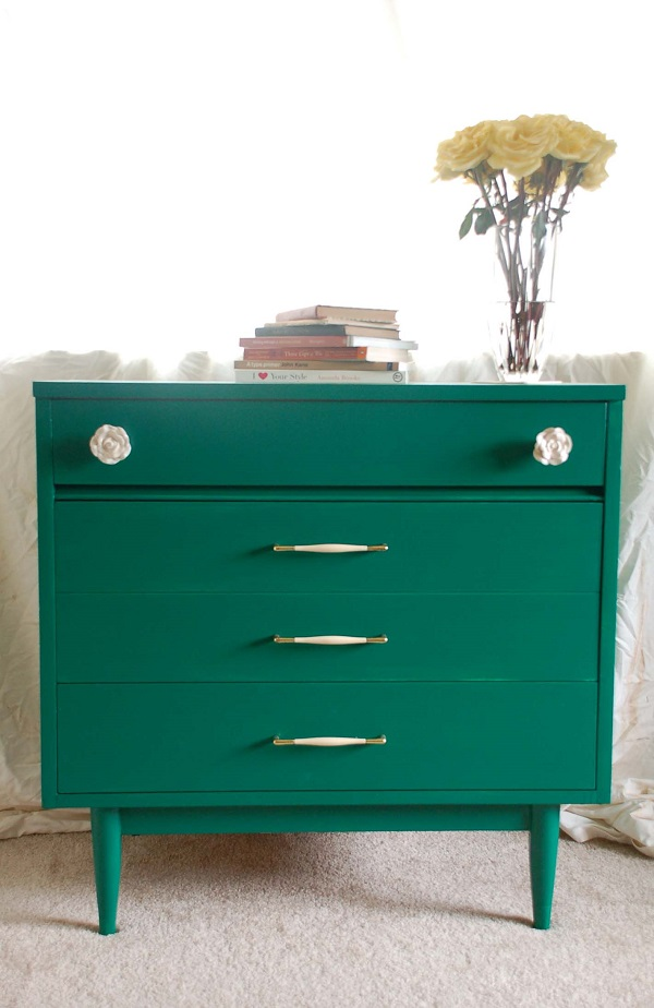 Emerald green dresser with white and gold pulls