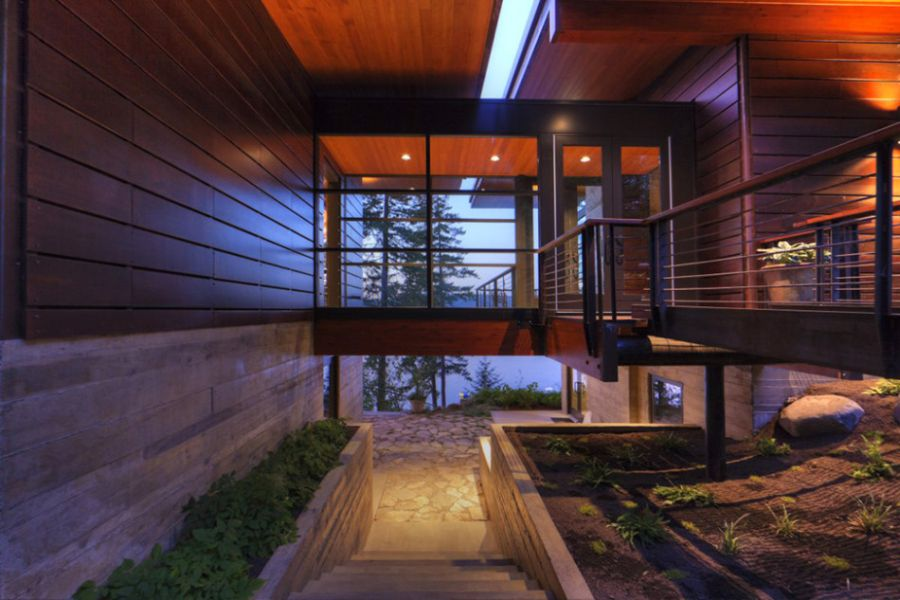 Entrance way at the Coeur D'Alene Lake Cabin