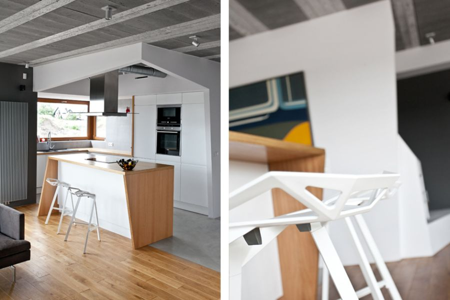 Ergonomic kitchen with interesting seating options