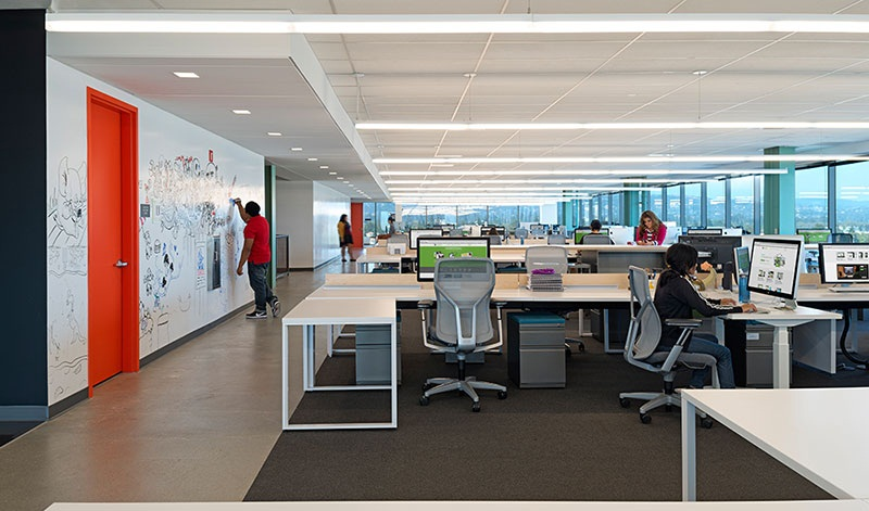 Open office work areas highlight minimalism and economy