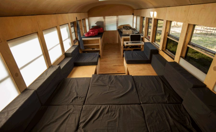 Extra sleeping space inside the mobile bus home