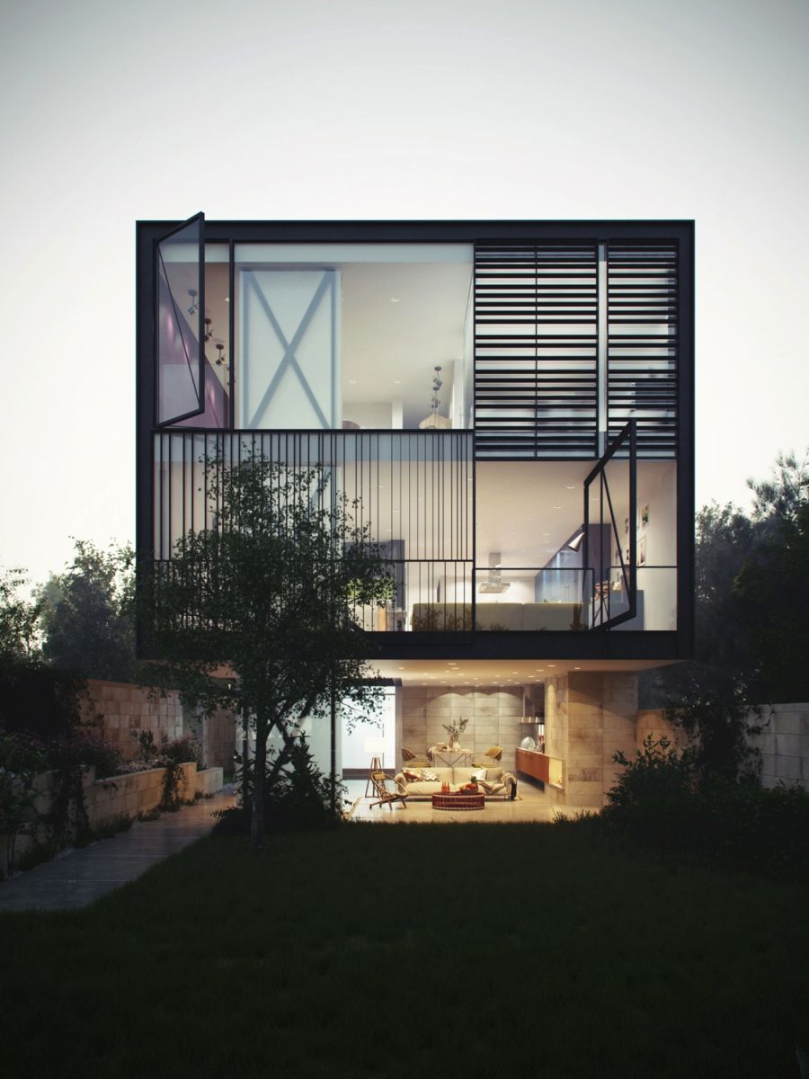 Glass box home blends audacious design with innovative for Modern window house