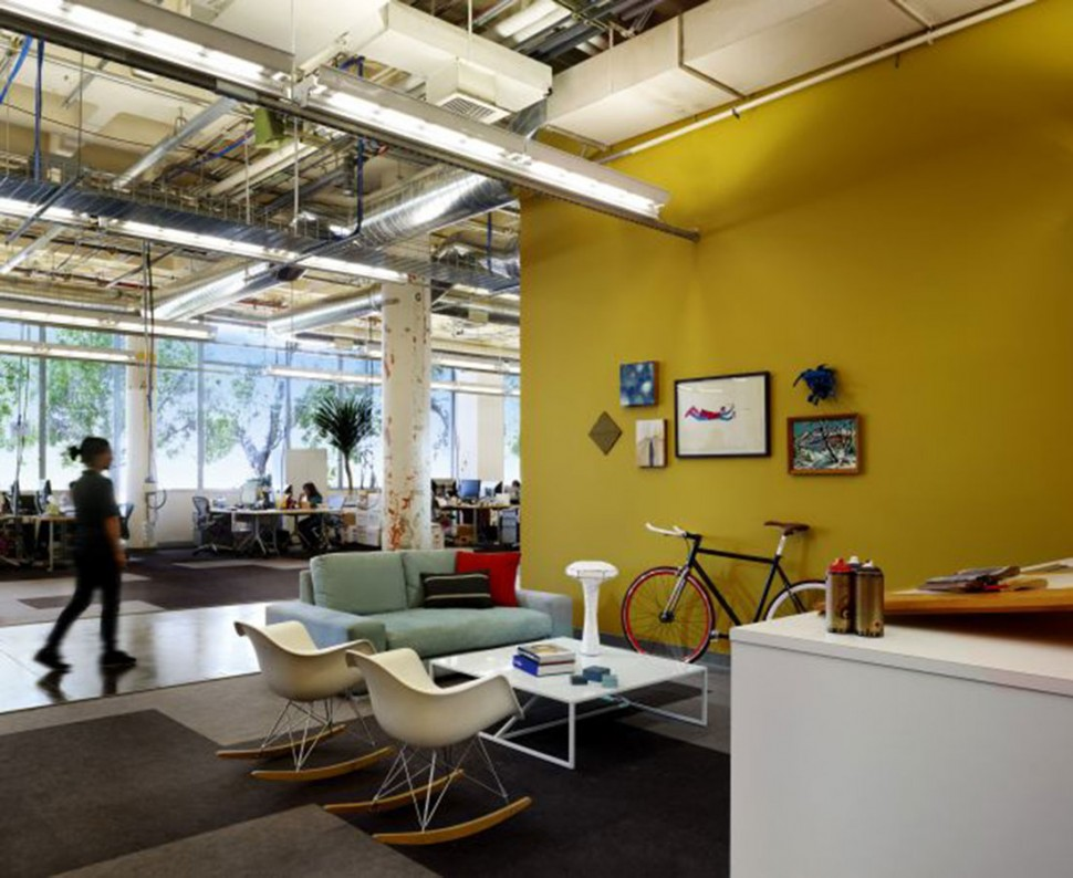 Bright yellow wall is a perfect backdrop for this office via bs2h