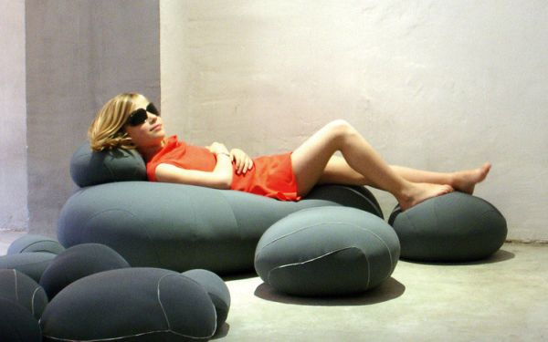 Felted wool pillows and seating from Livingstones