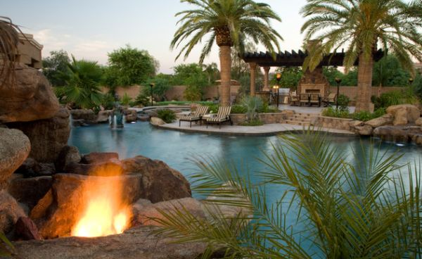 Fireplace and pool seem to exude a natural vibe