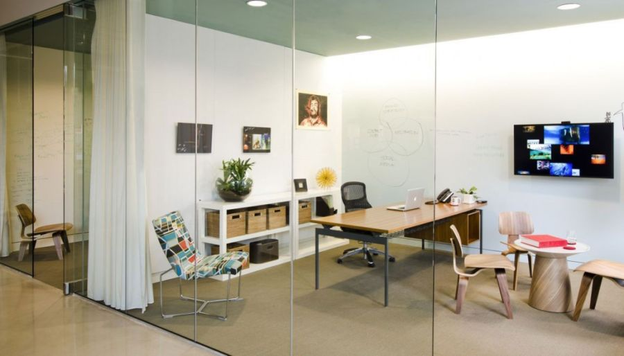 Glass walls provide special cubicles