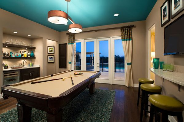 Gorgeous drum pendants are a perfect fit for the space above the pool table
