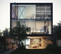 Gorgeous facade of the Glass Box Home